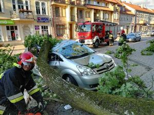 Wiało. I to jak! Powalone drzewa, zerwany dach i przygniecione auto