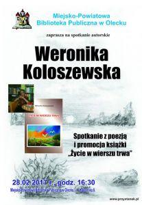 Spotkanie autorskie z Weroniką Koloszewską w Miejsko - Powiatowej Bibliotece Publicznej w Olecku @ Miejsko - Powiatowa Biblioteka Publiczna w Olecku | Olecko | warmińsko-mazurskie | Polska