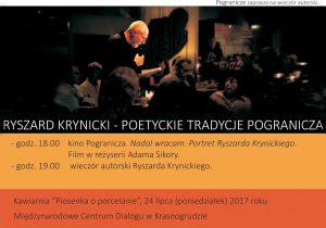 Wieczór autorski Ryszarda Krynickiego @ Międzynarodowe Centrum Dialogu w Krasnogrudzie | Krasnogruda | podlaskie | Polska