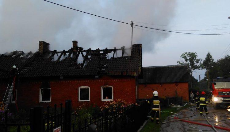 Pożar domu w Mazurach