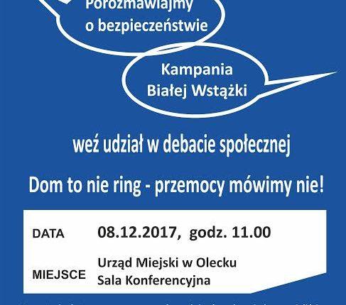 """Oleccy policjanci zapraszają na debatę  zorganizowaną w ramach kampanii """"Biała Wstążka"""""""