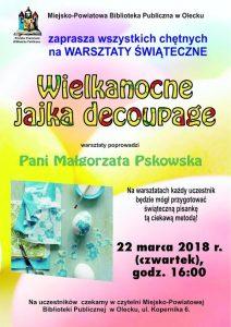 Wielkanocne jajka decoupage - warsztaty w oleckiej bibliotece @ Miejsko-Powiatowa Biblioteka Publiczna w Olecku | Olecko | warmińsko-mazurskie | Polska
